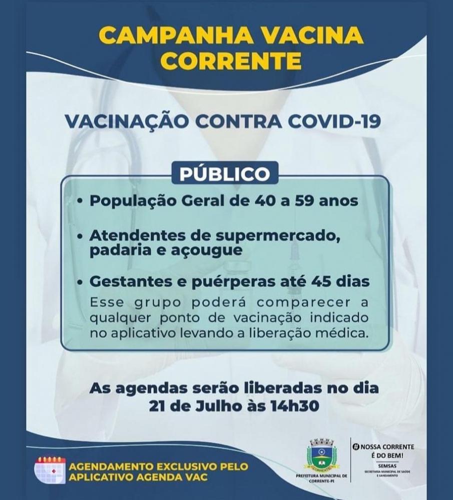 Corrente abre agendamento para vacinação contra a covid de novo público