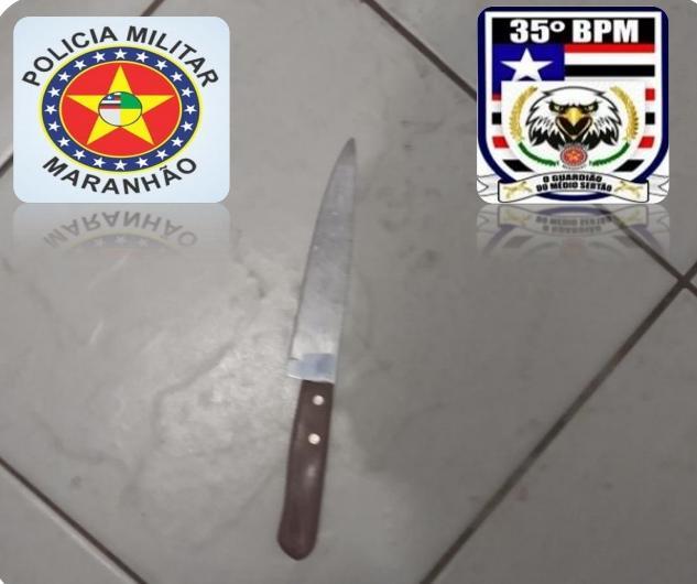 35º BPM conduz jovem por ameaçar sua mãe com uma faca