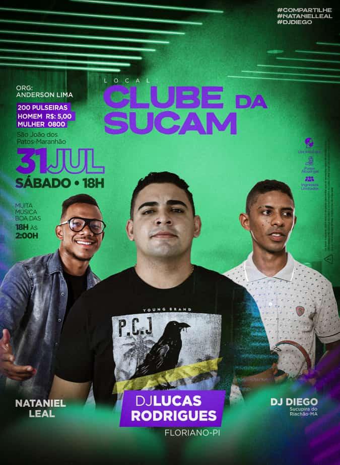 31 de Julho tem música ao vivo com Nataniel Leal, Dj Diego e Dj Lucas Rodrigues