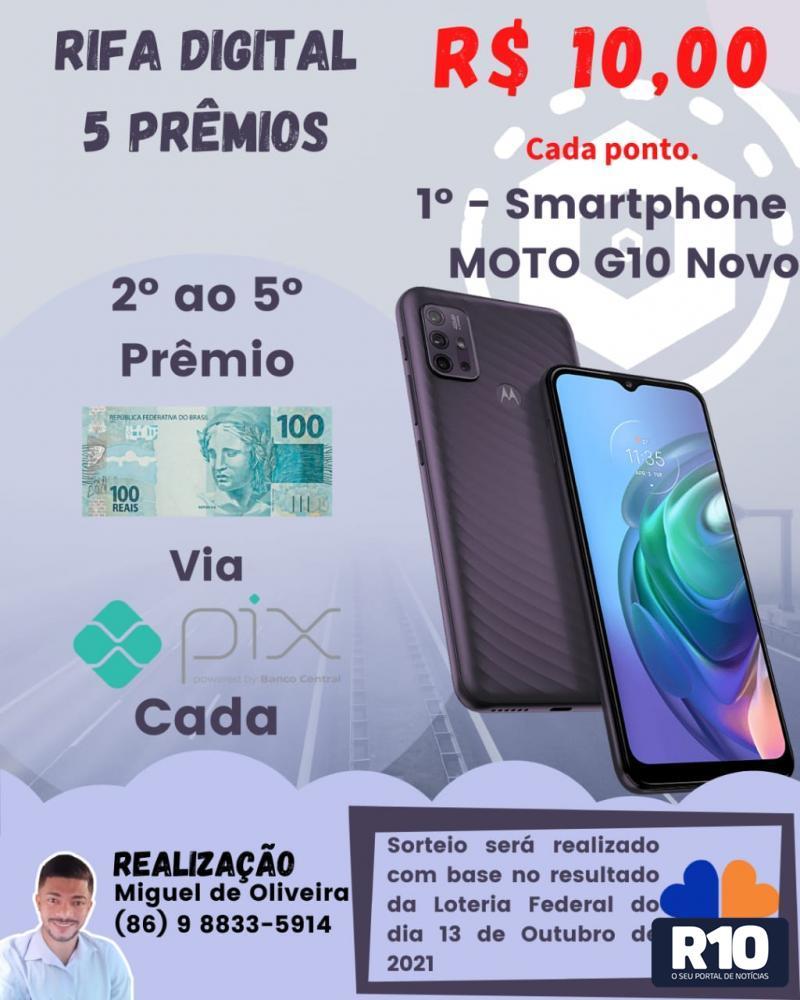 Rifa digital com 1°, 2°, 3° , 4° e 5° prêmios por apenas 10 reais