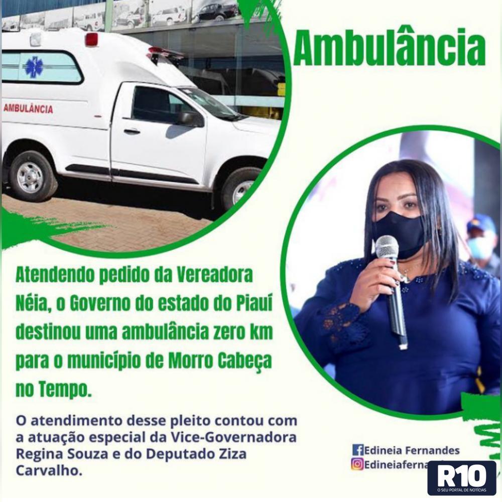 O município de Morro Cabeça no Tempo será contemplado com uma ambulância zero km