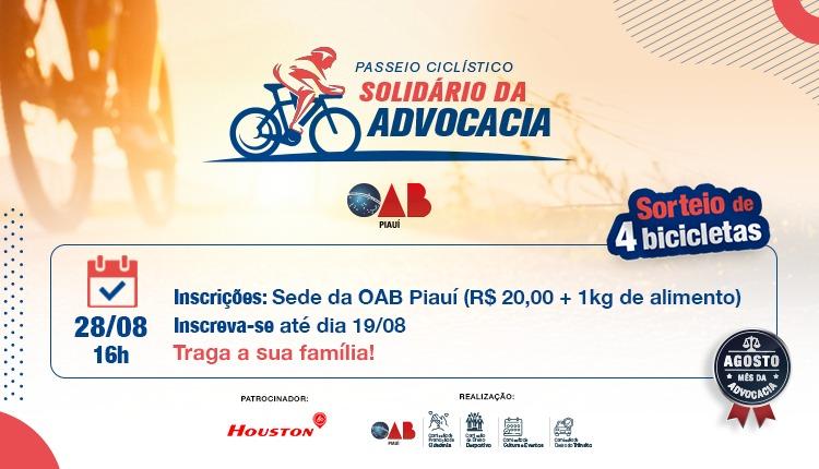 OAB Piauí realiza Passeio Ciclístico Solidário no dia 28/08