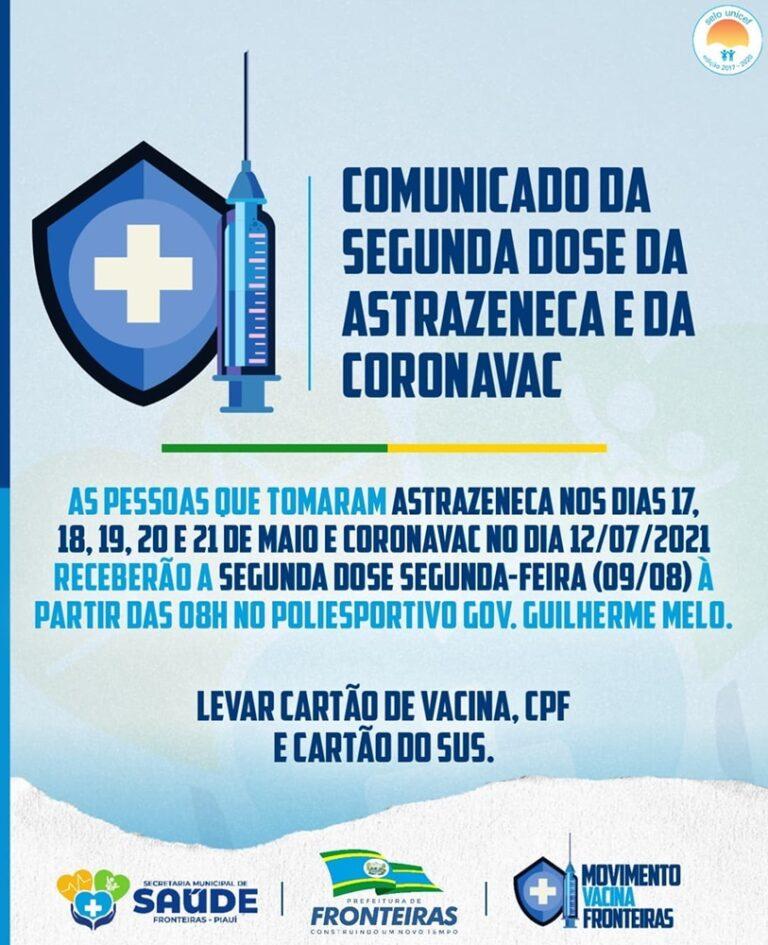 Saúde de Fronteiras vai ministrar 2ª dose de vacinas contra a Covid no dia (09)
