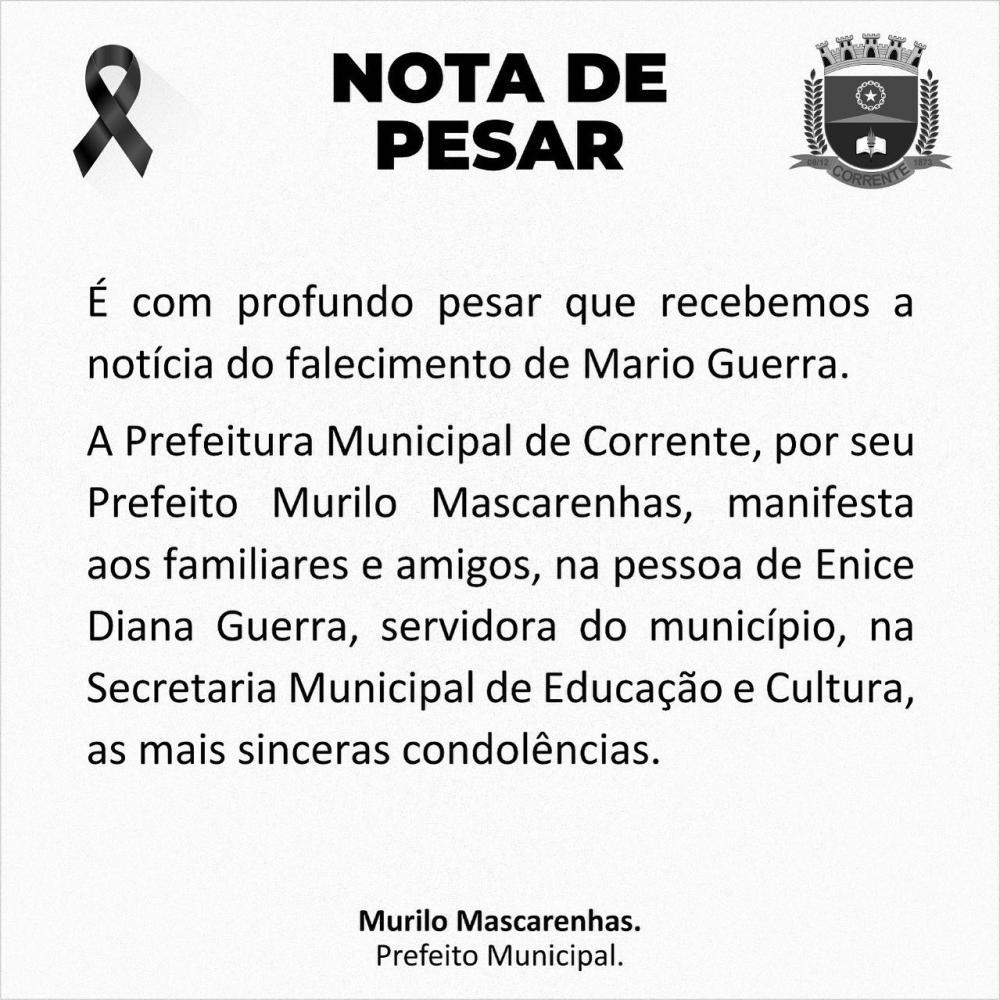 Prefeitura de Corrente emite nota de pesar pelo falecimento de Mario Costa
