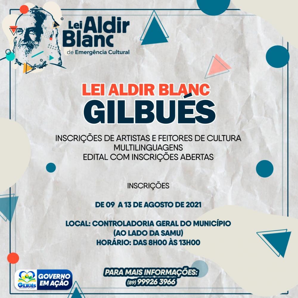 Inscrições para Auxílio Emergencial para artistas e agentes de cultura de Gilbués
