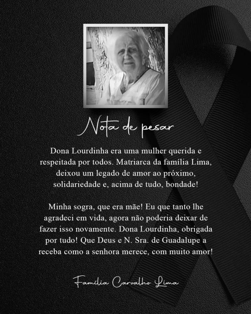 Prefeita Neidinha emite nota de pesar pelo falecimento de Dona Lourdinha