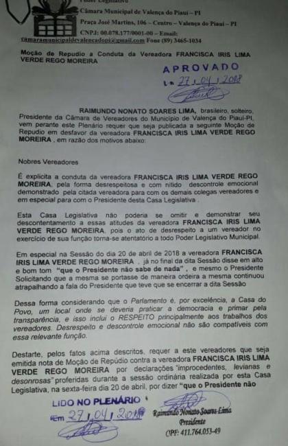Câmara de vereadores de Valença aprova moção de repúdio contra atos da vereadora Íris Moreira