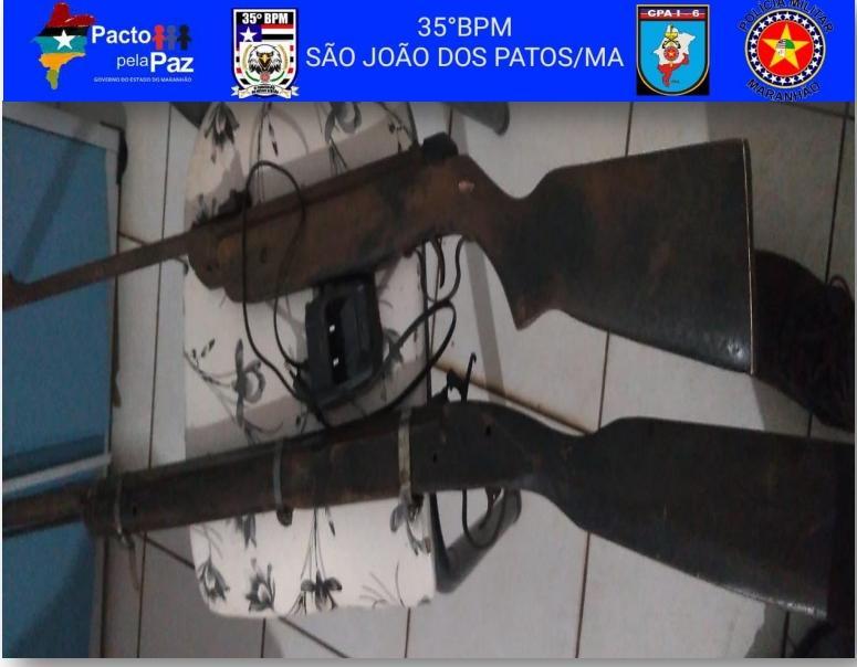 35º BPM apreende duas armas de fogo na cidade de Pastos Bons-Ma