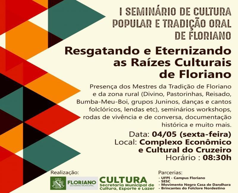 Secretaria de Cultura realiza I Seminário de Cultura Popular e Tradição Oral de Floriano