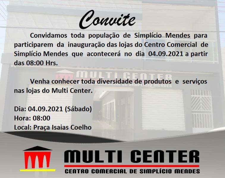 A MULTI CENTER convida você para sua inauguração dia 04 de setembro