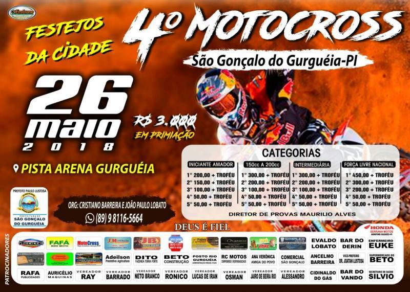 Ta chegando o dia, é nesse 26 de Maio, 4 motocross da Pista Arena Gurguéia