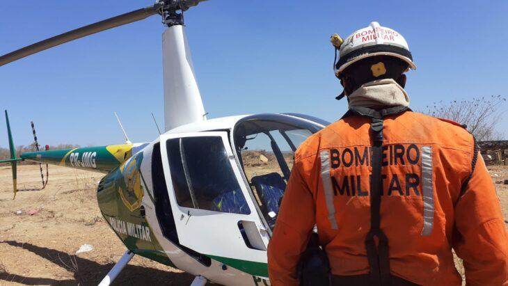PM envia helicóptero para identificar focos de incêndios no sul do Piauí