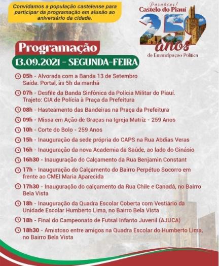 Confira a programação completa do aniversário de 259 anos de Castelo do PI