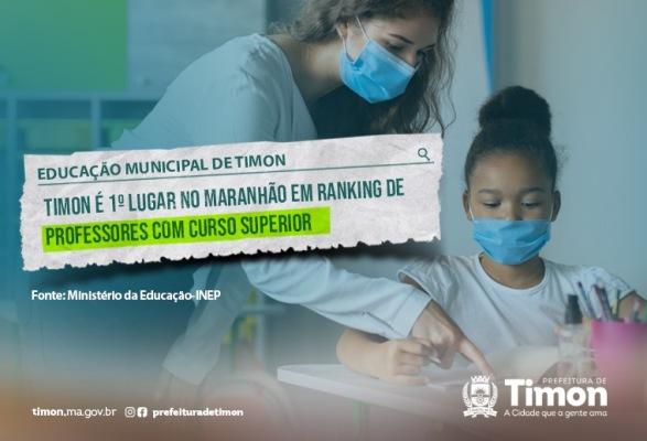 Timon é 1º lugar no Maranhão em ranking de professores com curso superior