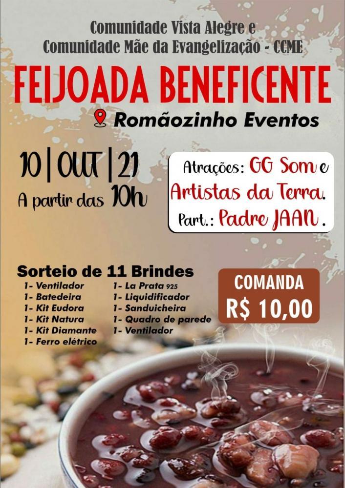 Feijoada beneficente, 10.Out, GG Som e artistas locais, 10hs no Romãozinho Eventos, Demerval Lobão