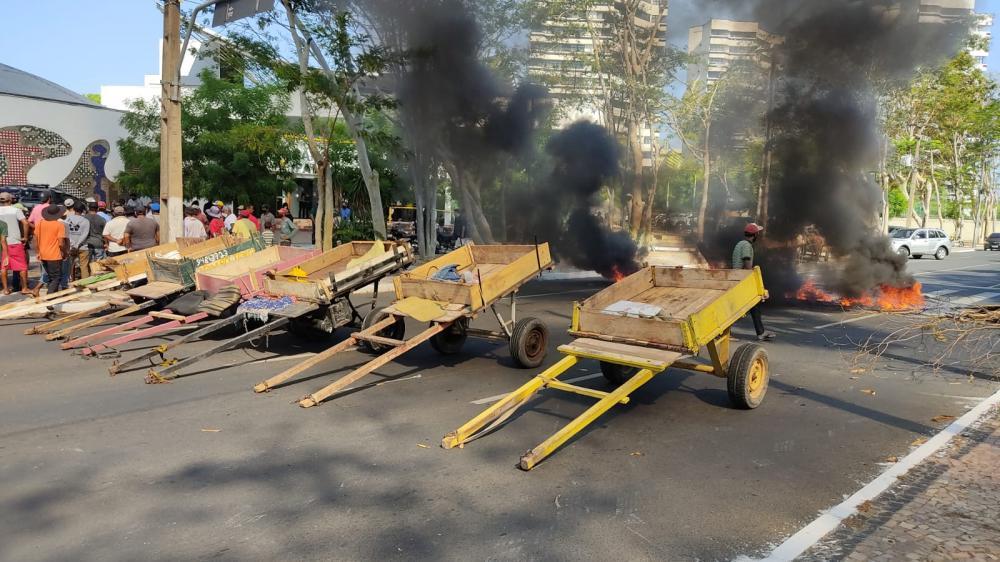 carroceiros realizam manifestação em frente à câmara de Teresina