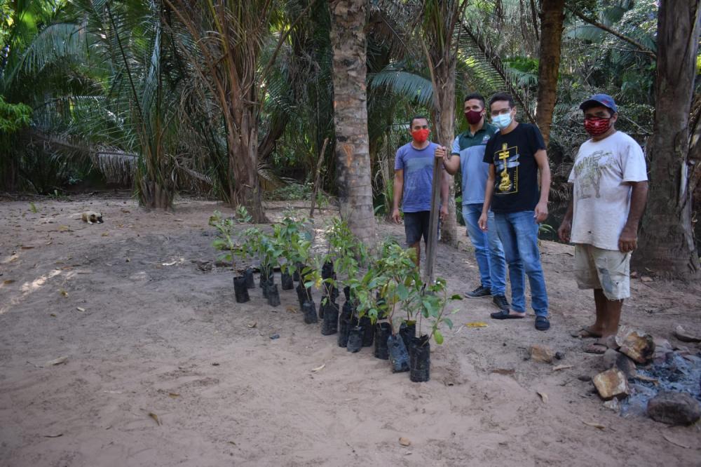 SEMAM de Monsenhor Gil em parceria com projeto ECO realizou o plantio de 30 mudas