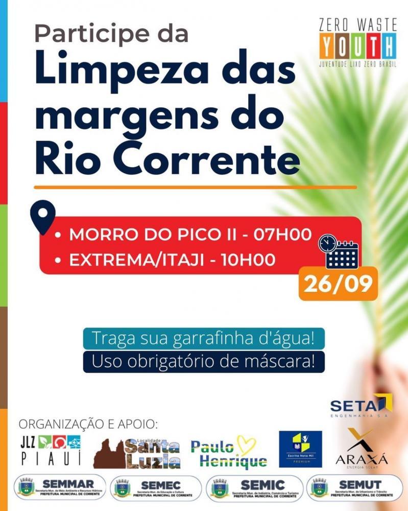 Prefeitura realizará no domingo (26) ação de limpeza das margens do Rio Corrente