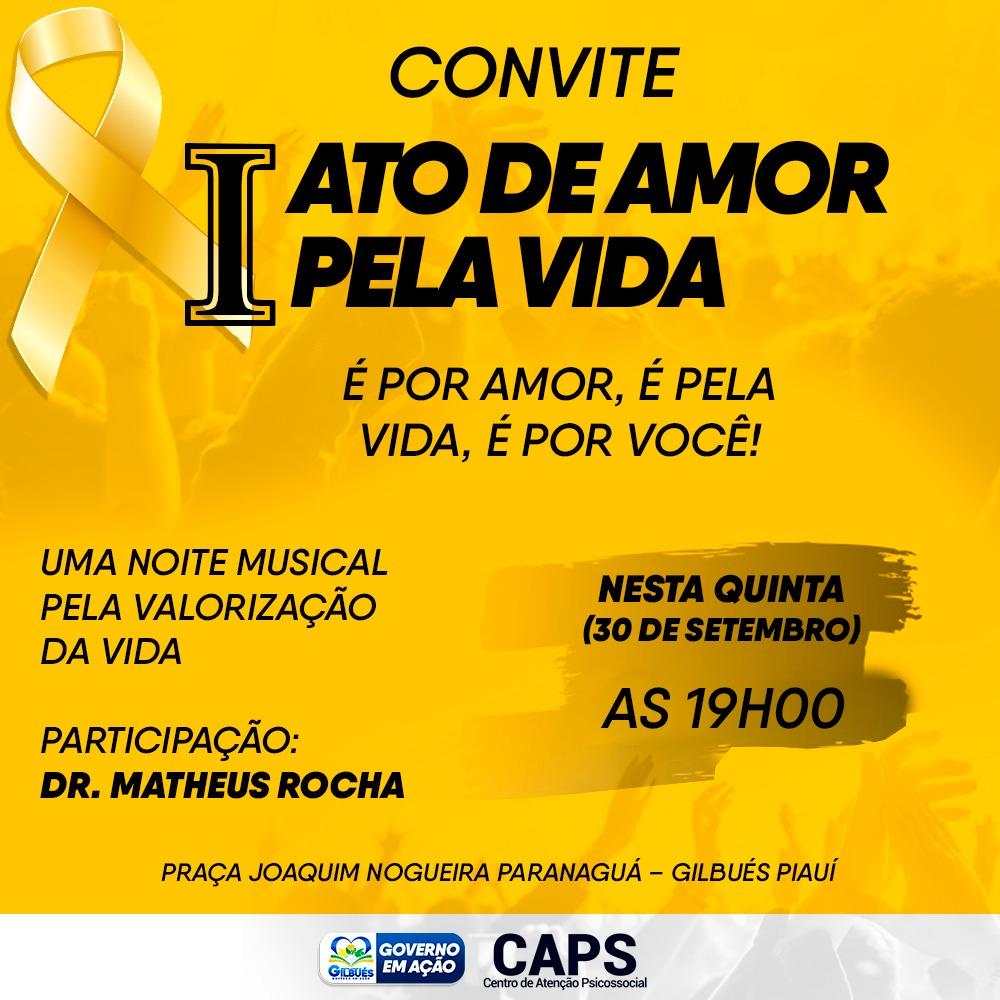 Setembro Amarelo: I Ato de Amor pela Vida será realizado em Gilbués