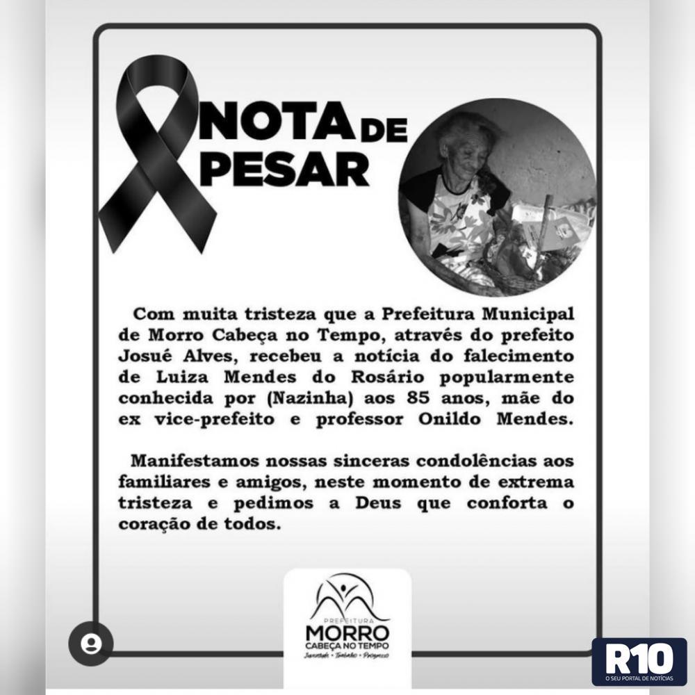 Prefeitura emite nota de pesar pelo falecimento de Luiza Mendes do Rosário