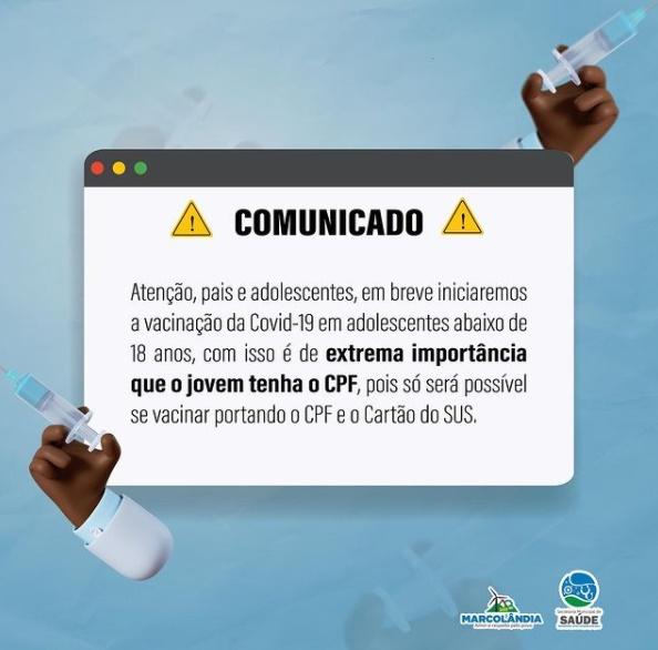 Marcolândia pede que adolescentes providenciem CPF para poderem se vacinar