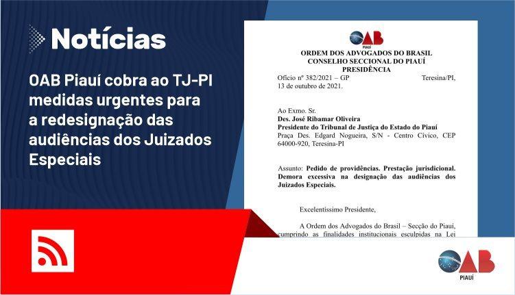 OAB Piauí cobra ao TJ-PI medidas urgentes para a redesignação das audiências