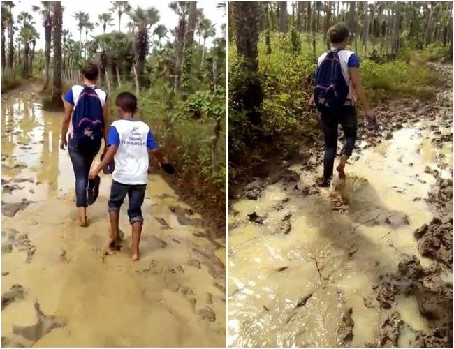 Alunos enfrentam dificuldades para chegar à escola no Piauí