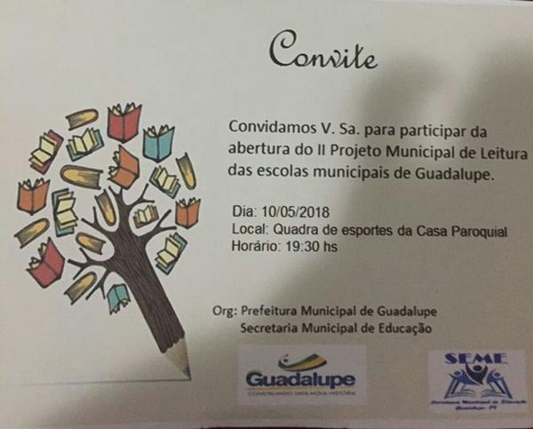 Acontece hoje a abertura do II Projeto de Leitura nas Escolas Municipais em Guadalupe