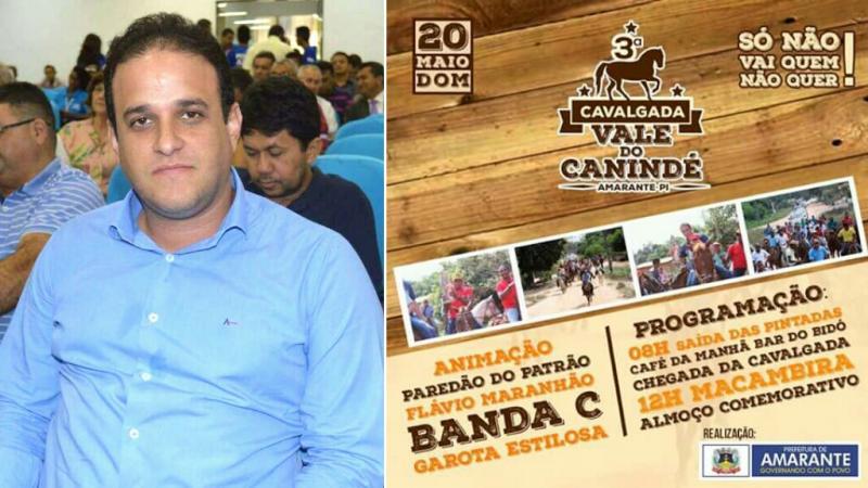 Prefeito Diego Teixeira convida população de Amarante para Cavalgada do Vale do Canindé