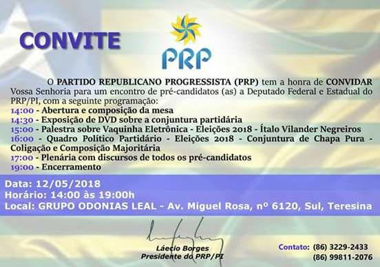 PRP do Piauí: reunião de pré-candidatos a deputados federal e estadual