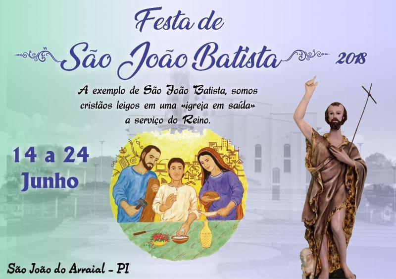 Igreja divulga o tema dos festejos de São João Batista,  em São João do Arraial