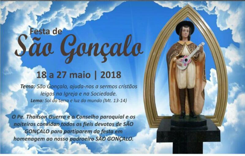Inicia nessa Sexta-Feira os festejos do padroeiro São Gonçalo