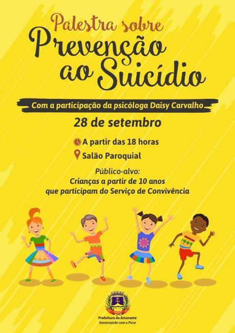 Prefeitura de Amarante realizará palestra sobre prevenção ao suicídio nesta quinta-feira