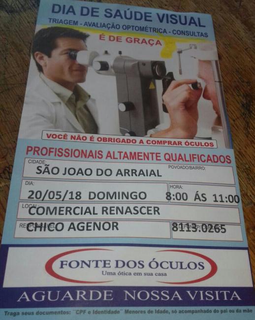 Fonte dos óculos estará em São João do Arraial no próximo domingo (20)