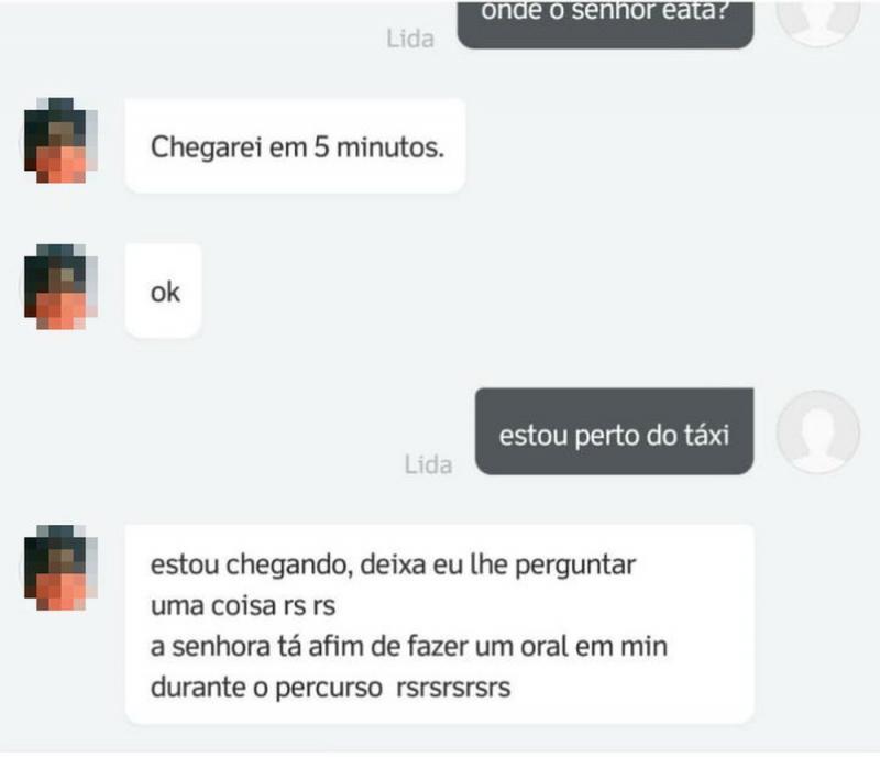 Motorista de aplicativo manda mensagem pedindo sexo oral a cliente