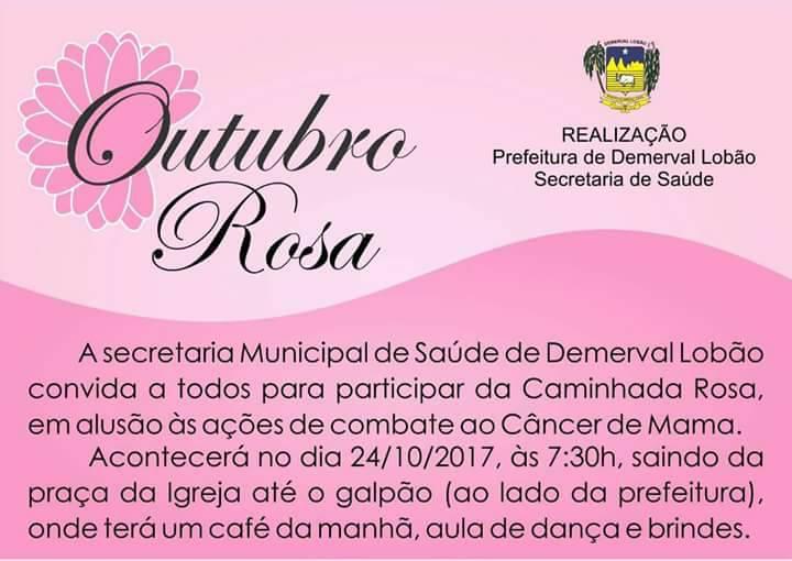 Secretaria de Saúde e Prefeitura de Demerval Lobão realizarão 'Caminhada rosa'