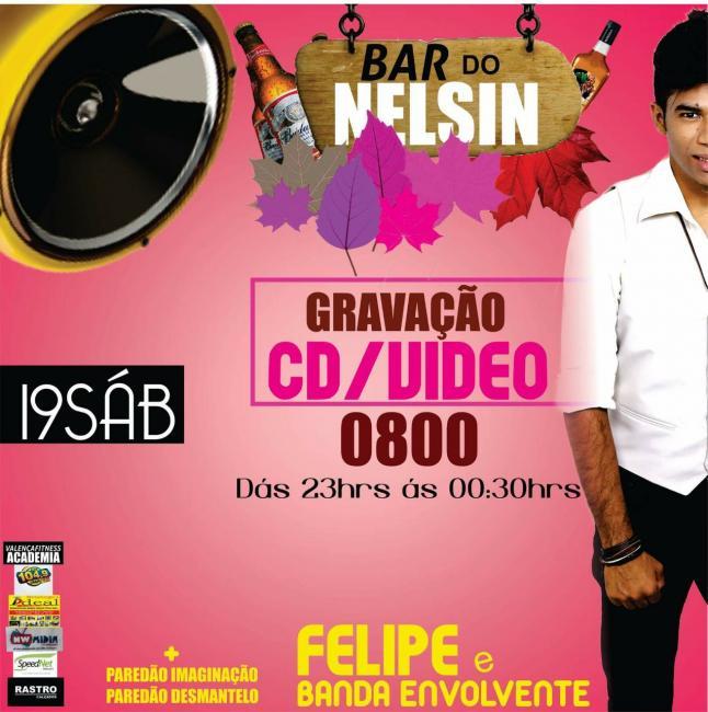 Cantor Felipe e Banda Envolvente se apresentarão no bar  do Nelsin