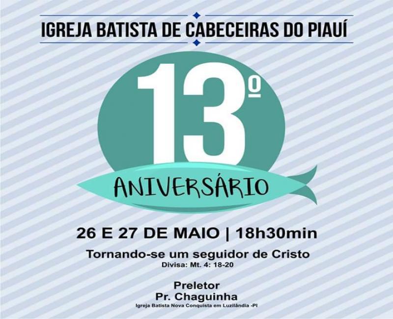 Vem aí o aniversário de 13 anos da Primeira Igreja Batista em Cabeceiras