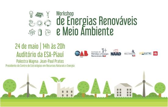 Energias Renováveis e Meio Ambiente será tema de Workshop