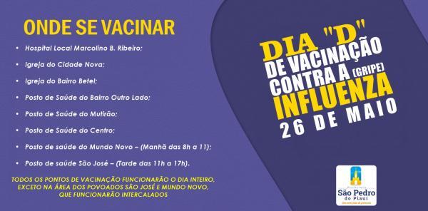 São Pedro do Piauí remarca dia 'D' contra a Influenza (GRIPE)