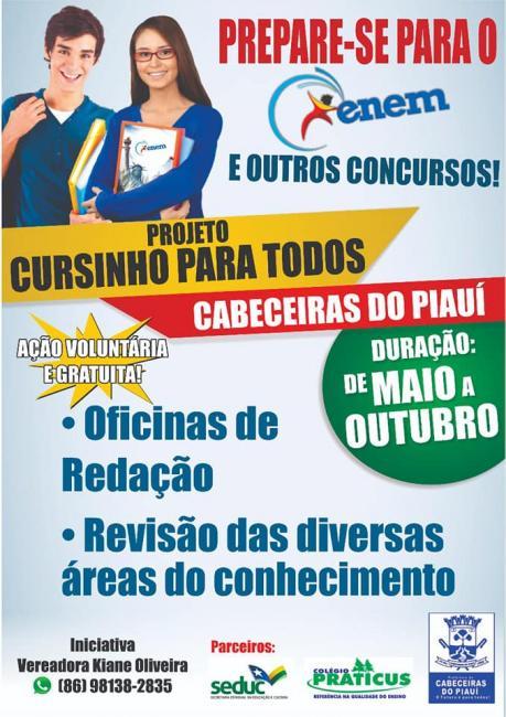 Aulas do Projeto Cursinho para Todos terão início neste sábado (26) em Cabeceiras