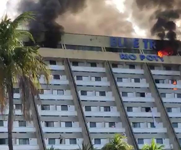 Incêndio atinge Rio Poty Hotel no bairro Ilhotas em Teresina