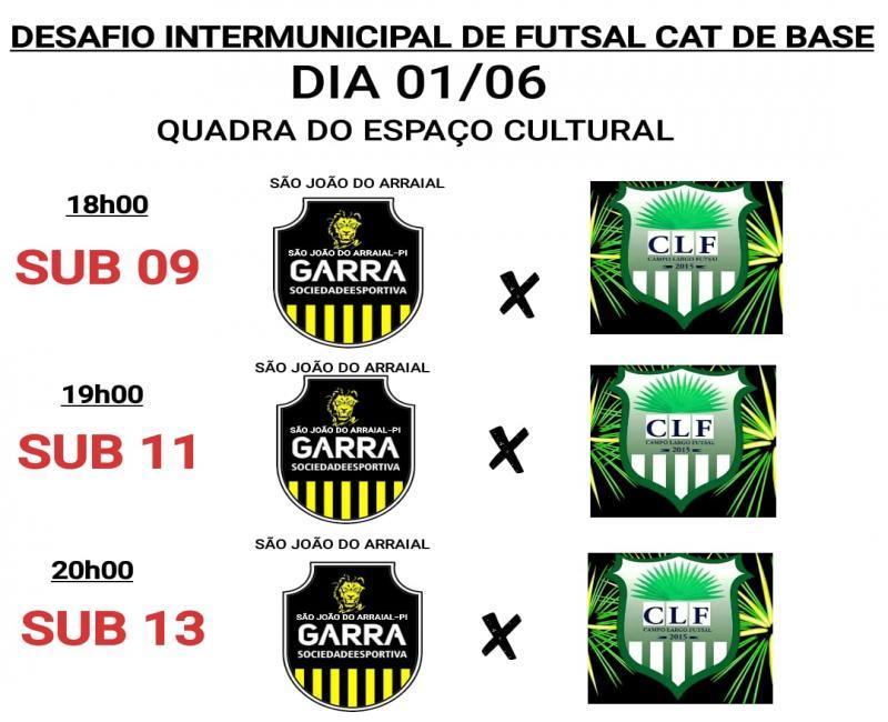Desafio Intermunicipal de Futsal Categoria de base acontecerá nesta sexta(01) em São João do Arraial