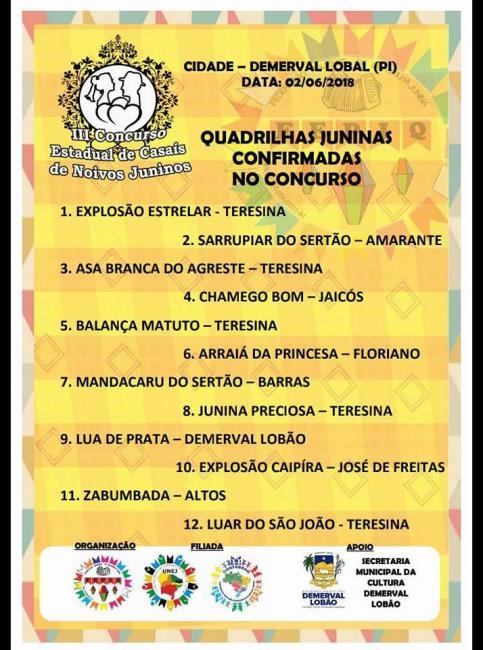 Concurso estadual junino acontece sábado (02) em Demerval Lobão na 'III Feira da Agricultura'
