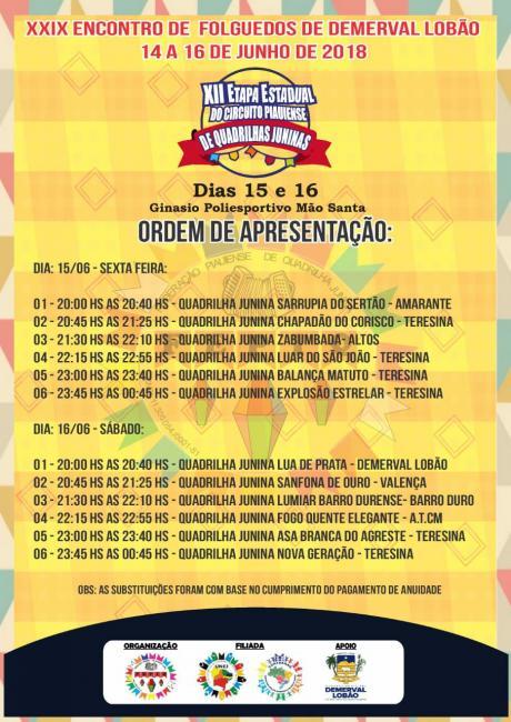 'XII Etapa Estadual do Circuito Piauiense de Quadrilhas Juninas' será em Demerval Lobão; confira